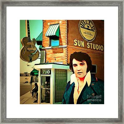 Elvis Presley The King At Sun Studio Memphis Tennessee 20160216 Square Framed Print by Wingsdomain Art and Photography