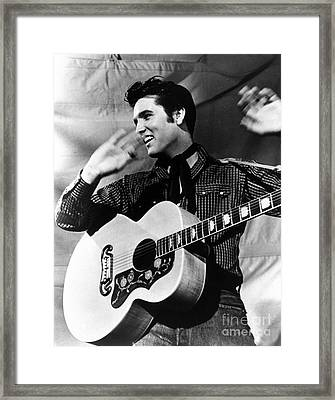 Elvis Presley With His Gibson Guitar Framed Print by Pd