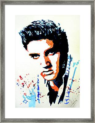 Framed Print featuring the painting Elvis by Steven Ponsford