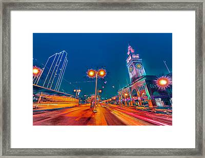 Framed Print featuring the photograph Embarcadero Lights by Steve Siri
