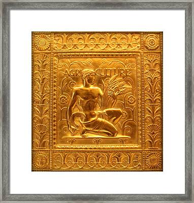 Embossed Brass Agriculture Panel - Fisher Building Framed Print by Anita Hiltz