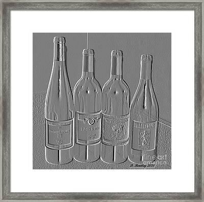 Embossed Wine Bottles Framed Print by Donna Bentley