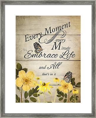 Framed Print featuring the digital art Embrace Life by Robin-Lee Vieira