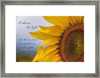 Embrace The Light Framed Print by Dale Kincaid