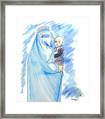 Embroidered Blue Lady-cage -- Woman In Burka Framed Print