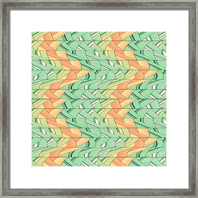 Emerald And Salmon Pattern Framed Print by Gaspar Avila