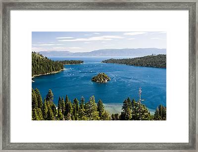 Emerald Bay And Wizard Island At Lake Tahoe In California  Framed Print