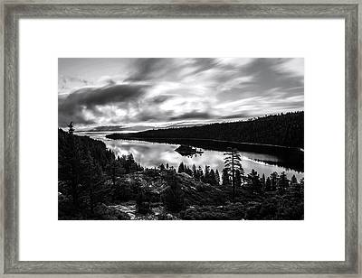 Framed Print featuring the photograph Emerald Bay Black And White by Brad Scott