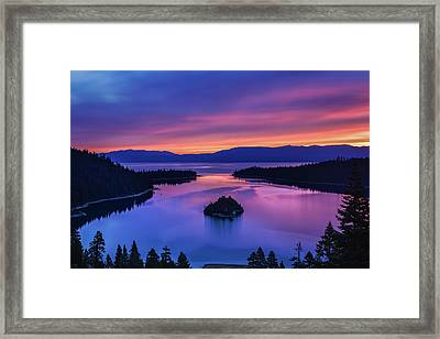 Emerald Bay Clouds At Sunrise Framed Print