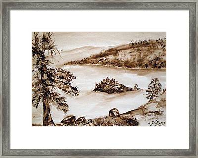 Emerald Bay Monochrome Framed Print by Tammera Malicki-Wong