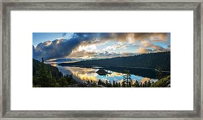 Emerald Bay Sunrise Rays Framed Print by Brad Scott