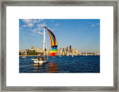 Emerald City Sail Framed Print by Tom Dowd