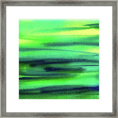 Emerald Flow Abstract Painting Framed Print by Irina Sztukowski