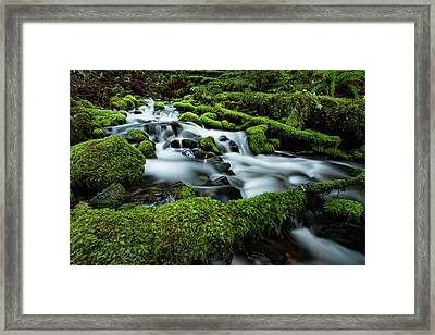 Emerald Flow Framed Print by Edgars Erglis