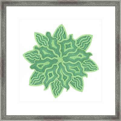 Framed Print featuring the drawing Emerald Flower by Jill Lenzmeier