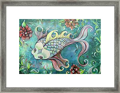 Emerald Koi Framed Print by Shadia Derbyshire