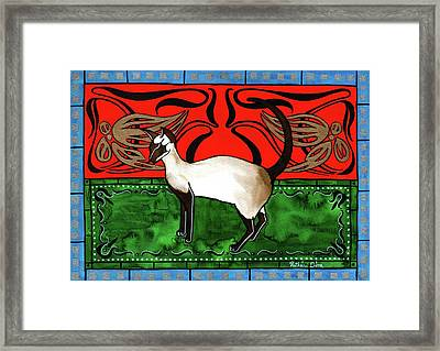 Emerald Meets Siamese Framed Print