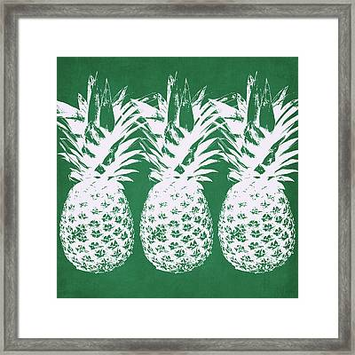 Framed Print featuring the mixed media Emerald Pineapples- Art By Linda Woods by Linda Woods