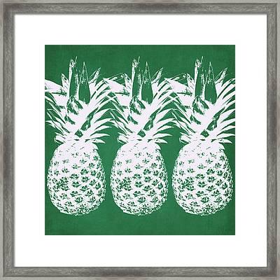 Emerald Pineapples- Art By Linda Woods Framed Print