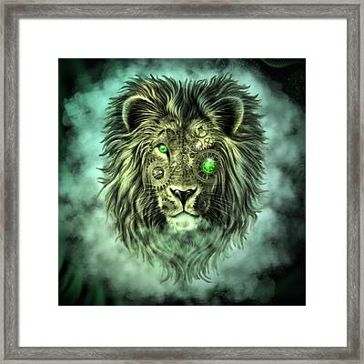 Emerald Steampunk Lion King Framed Print