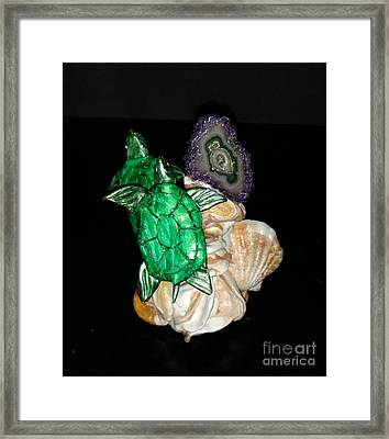 Emerald Turtles Framed Print