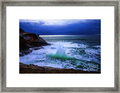 Emerald Wave Framed Print by Jerry Cowart