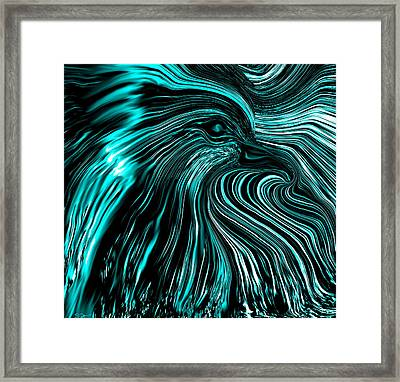 Emerging From The Black And Blues Framed Print by Abstract Angel Artist Stephen K