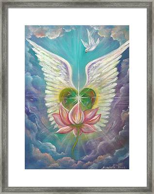 Emerging Love Opening Heart Framed Print by Sundara Fawn