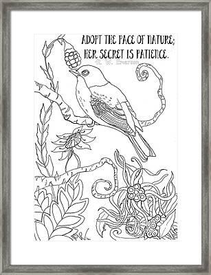 Emerson Quote Bird Nature Zentangle Art Framed Print by D Renee Wilson