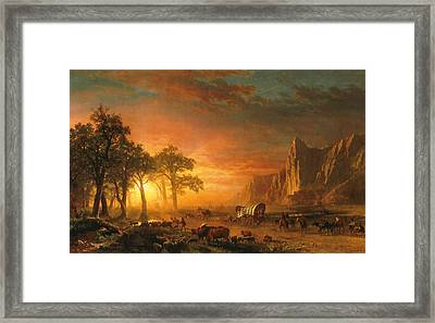 Emigrants Crossing The Plains - 1867 Framed Print by Albert Bierstadt