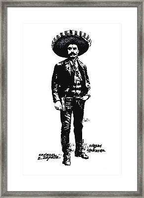 Framed Print featuring the drawing Emiliano Zapata by Antonio Romero