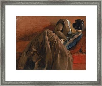 Emilie The Artist's Sister Asleep Framed Print by Adolph Friedrich Erdmann von Menzel