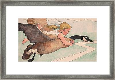 Emily And The Goose Framed Print by Robert Bissett