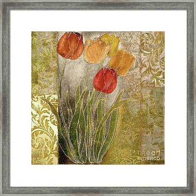 Emily Damask Tulips IIi Framed Print by Mindy Sommers