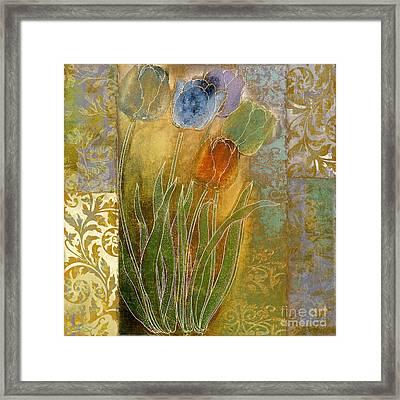 Emily Damask Tulips Framed Print