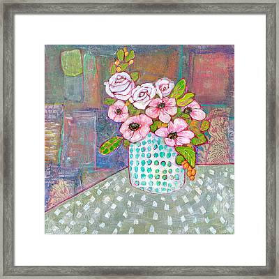 Emily Roses Flowers Framed Print by Blenda Studio