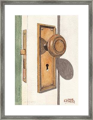 Emily's Door Knob Framed Print by Ken Powers