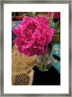 Framed Print featuring the photograph Emily's Peonies  by Kate Word