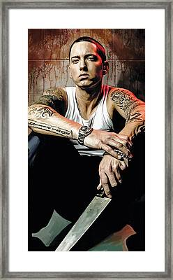 Framed Print featuring the painting Eminem Artwork 1   by Sheraz A