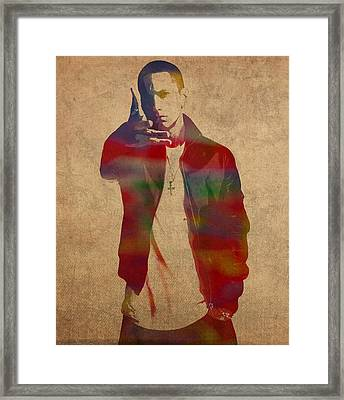 Eminem Watercolor Portrait Framed Print