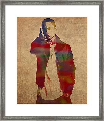 Eminem Watercolor Portrait Framed Print by Design Turnpike