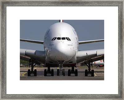 Emirates Airbus A380-800 Framed Print by Daniel Hagerman