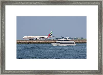 Emirates Airlines 777 Taxiing At Logan Airport Framed Print by Brian MacLean