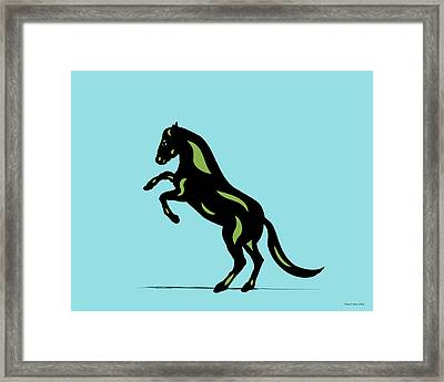 Emma - Pop Art Horse - Black, Greenery, Island Paradise Blue Framed Print