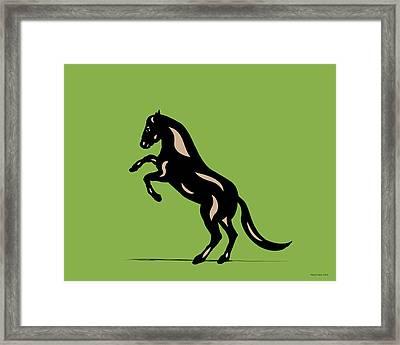 Emma - Pop Art Horse - Black, Hazelnut, Greenery Framed Print