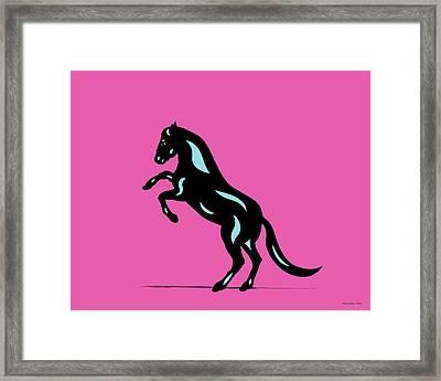 Emma - Pop Art Horse - Black, Island Paradise Blue, Pink Framed Print