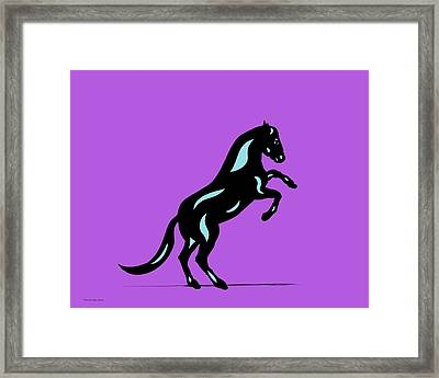 Emma II - Pop Art Horse - Black, Island Paradise Blue, Purple Framed Print