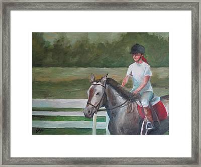 Emma Riding Framed Print by Julie Dalton Gourgues