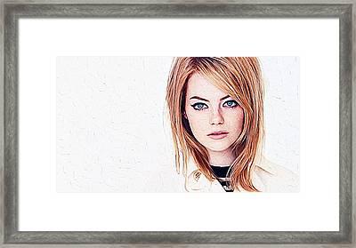Emma Stone Framed Print by Iguanna Espinosa