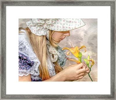 Emma With Flower Portrait Framed Print by Randy Steele